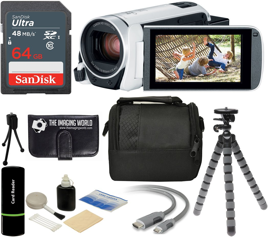 Canon VIXIA HF R800 57x Zoom Full HD 1080p Video Camcorder (Black) + 64GB Card + Case + Tripod + Digital Camera Cleaning Kit - Complete Accessories Bundle The Imaging World R800 BK K1