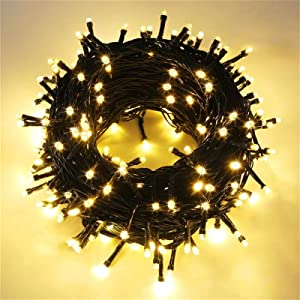 FOAMICHI Extendable 66FT Outdoor Christmas Lights, 150 LED Waterproof String Lights 8 Modes Twinkle Lights Plug in, Green Christmas Tree Lights for Outdoor Party Christmasmas Decor (Warm White)