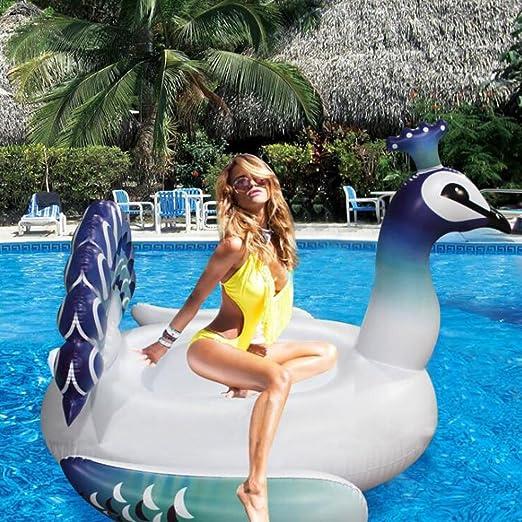 Ancaixin Gigante Flotador Hinchable forma de Pavo Real para Niños y Adultos 190*190*130CM Blanco: Amazon.es: Juguetes y juegos