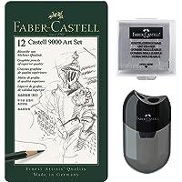 Faber-Castell 119065 - potlood Castell 9000, set van 12 stuks, inhoud 8B - 2H 12er + Anspitzer + Radierer Basisassortiment 8b - 2h