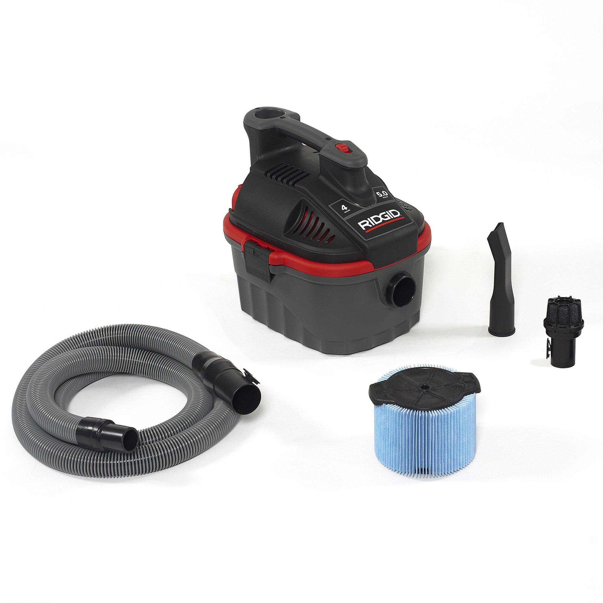 RIDGID 50313 4000RV Portable Wet Dry Vacuum, 4-Gallon Small Wet Dry Vac with 5.0 Peak HP Motor, Pro Hose, Ergonomic Handle, Cord Wrap, Blower Port by Ridgid