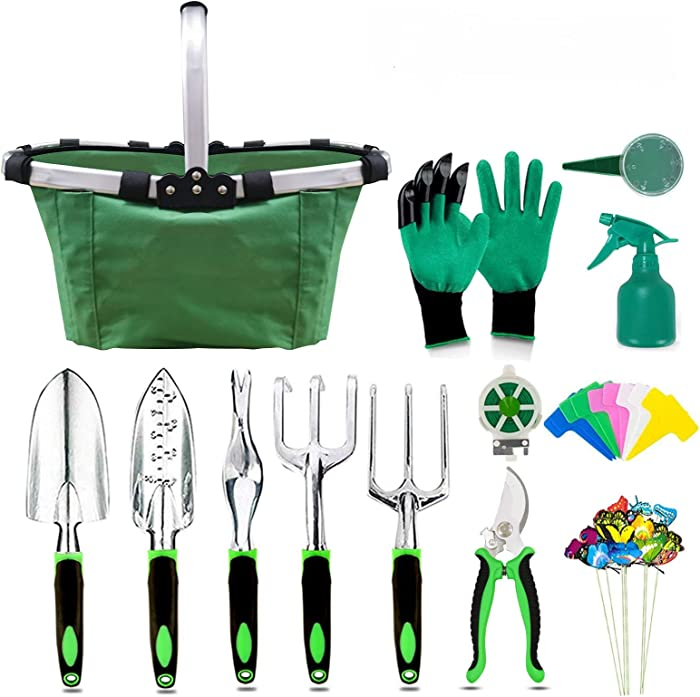 BESTHLS 40 Piece Garden Tool Set, Aluminum Hand Tool Kit, Garden Canvas Apron with Storage Pocket, Outdoor Tool, Heavy Duty Gardening Work Set with Ergonomic Handle, Gardening Tools for Women Men