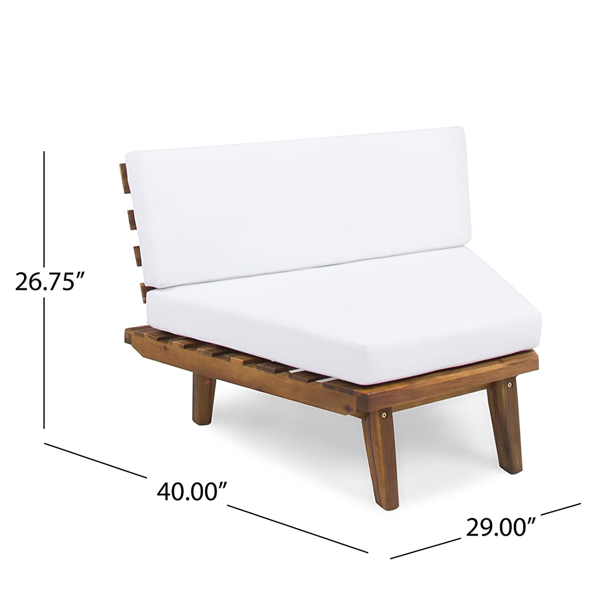Highpoint Outdoor V Shaped 4 Piece Sandblast Finished Acacia Wood Sectional Sofa Set with White Water Resistant Cushions
