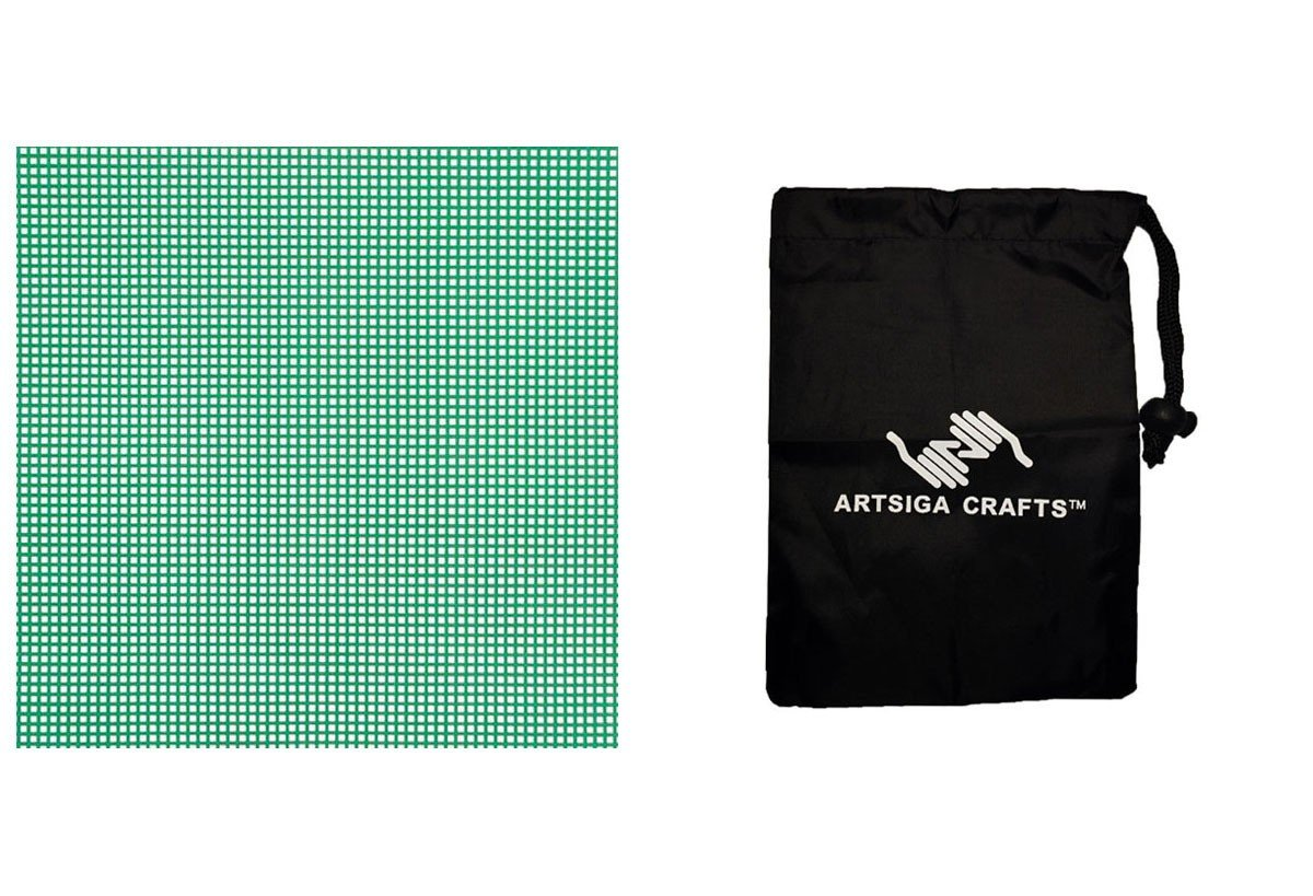 Darice Plastic Canvas #7 Mesh Neon Yellow 10.5 x 13.5 (12 Pack) 33900 28 Bundle with 1 Artsiga Crafts Small Bag Inc.