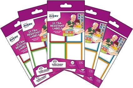 Avery España RES16-UK-5 Bolsas de Etiquetas adhesivas Ultra Resistentes, medida 44x64mm Total 80 etiquetas: Amazon.es: Oficina y papelería
