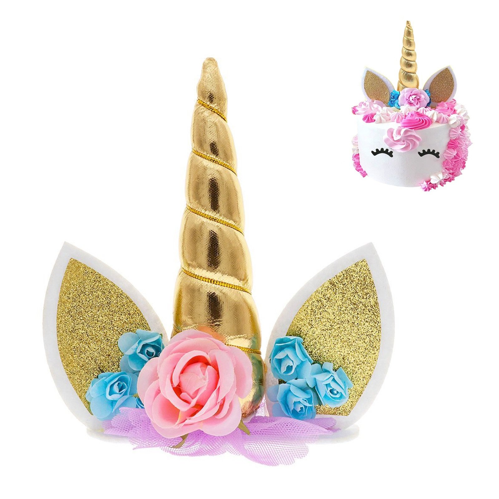Unicorn Cake Topper & Rainbow Cupcake Wrappers Kit (Set ...