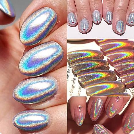 Joligel Superfino Pigmento Láser Polvo Brillo Holográfico 0,5g para Diseño Decoración de Uñas Cromo