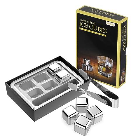 Amazon.com: Kollea cubos de hielo reutilizables de acero ...