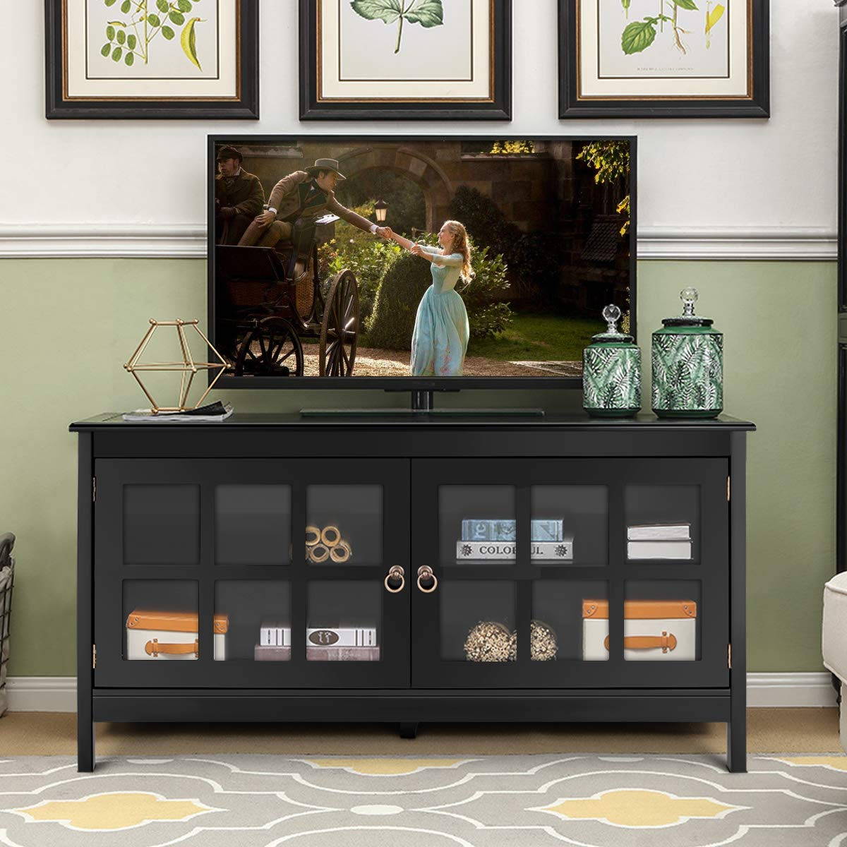 Tangkula TV Stand Modern Wood Large Wide Entertainment Center for TV up to 50'', Living Room Media Console Cabinet Stand with 2 Doors, Black by Tangkula