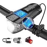 Sebami Luz Bicicleta Recargable USB, Linterna Bicicleta Impermeable Faro de Bicicleta con Campana y Luz Trasera…