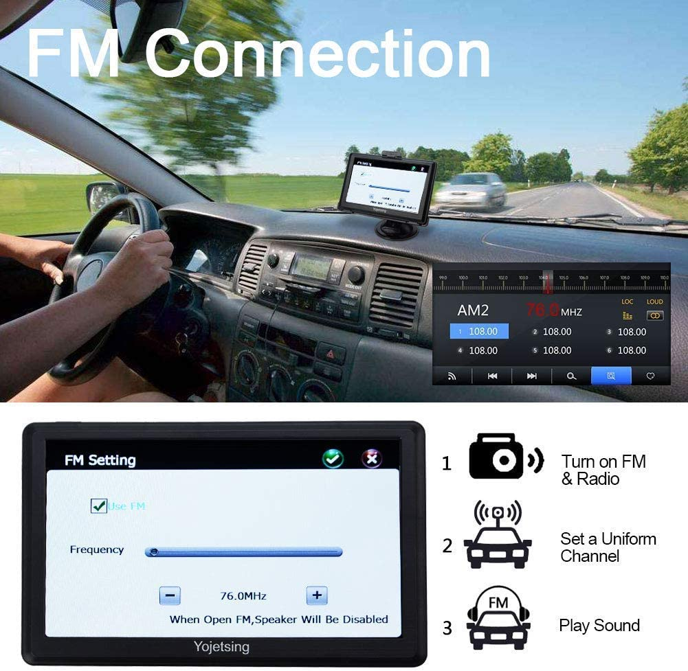 Sat Nav GPS Navigation System YoJetSing inch 16GB 256MB Car Truck Lorry Capacitive Touch Screen Satellite Navigator Device Pre-loaded 2019 Newest Maps with Lifetime Free Updates