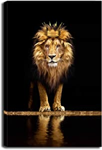 Lion Animal Canvas Print Wall Art Honorable and confident With Crown Black and Gold Framed and Stretched Pictures for Living Room Bedroom Home Office Wall Decor Artwork,Bedroom Decor for Men Gift