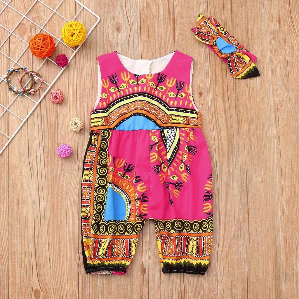 2-7Years,SO-buts Kids Baby Girl Outfits Summer Clothes African Print Floral Sleeveless Bodysuit Romper Jumpsuit Headband Set