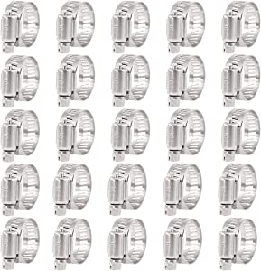 Keadic 25Pcs 14-27MM Worm Gear Hose Clamps 304 Stainless Steel for Plumbing Automotive and Mechanical Applications