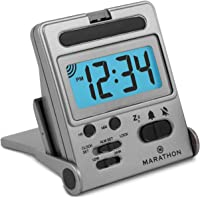 Marathon Simple Travel Alarm Clock with Calendar & Temperature, Easy to use, Easy to Set. - Battery Included