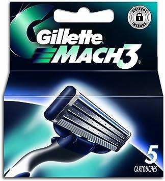 Gillette – 80201241 – Mach3 – Pack de 5 hojas: Amazon.es: Salud y ...