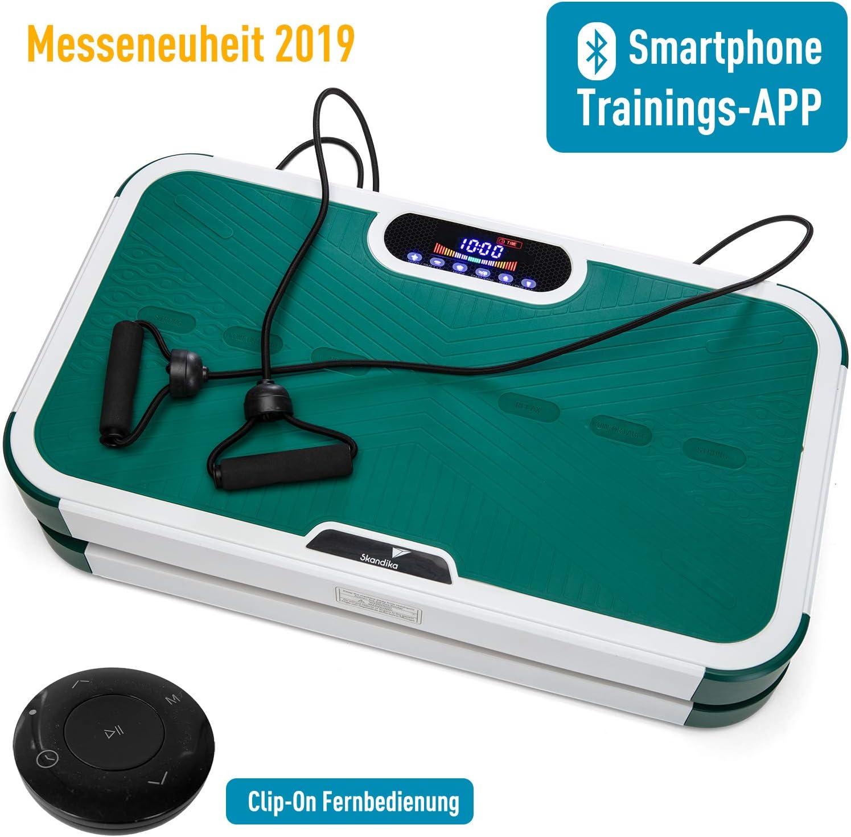 SUDEG Vibrationsplatte Schwarz mit Handy Bluetooth oder USB Oszillationstechnologie Ganzk/örper Massageger/ät Trainingsb/ändern//Fernbedienung//Integrierter Lautsprecher im Vibrationsger/ät