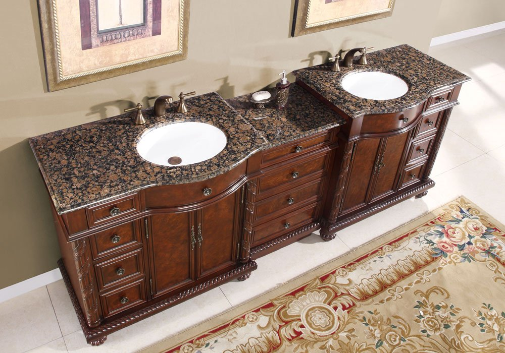 double bathroom sink vanity. 90  Double Sink Baltic Brown Granite Top Bathroom Vanity Cabinet Lavatory Furniture 213BB Amazon com