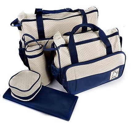 VADOO Kits Bolsa de Mama para Bebe Biberon Bolso/Bolsa/Bolsillo Maternal Bebé para Carro Carrito biberón colchoneta Comida pañal de Color Azul