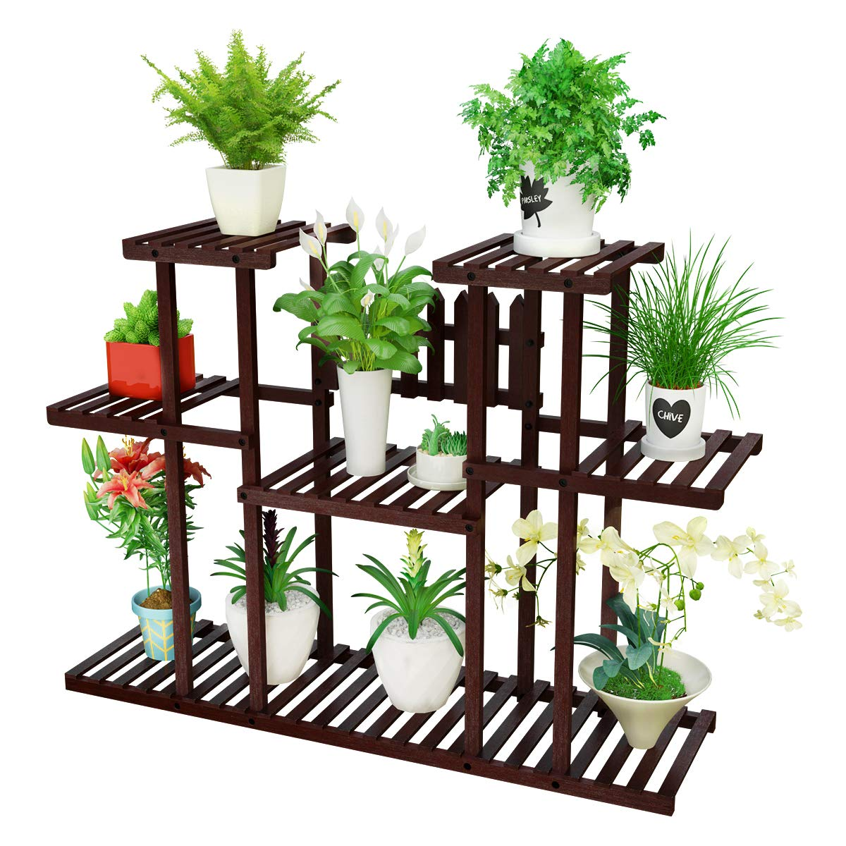 Homemaxs Plant Stand Indoor 3 Tier Bamboo Flower Pot Shelves, Large Storage Space Display Shelf for Balcony, Garden and Patio-Brown by Homemaxs
