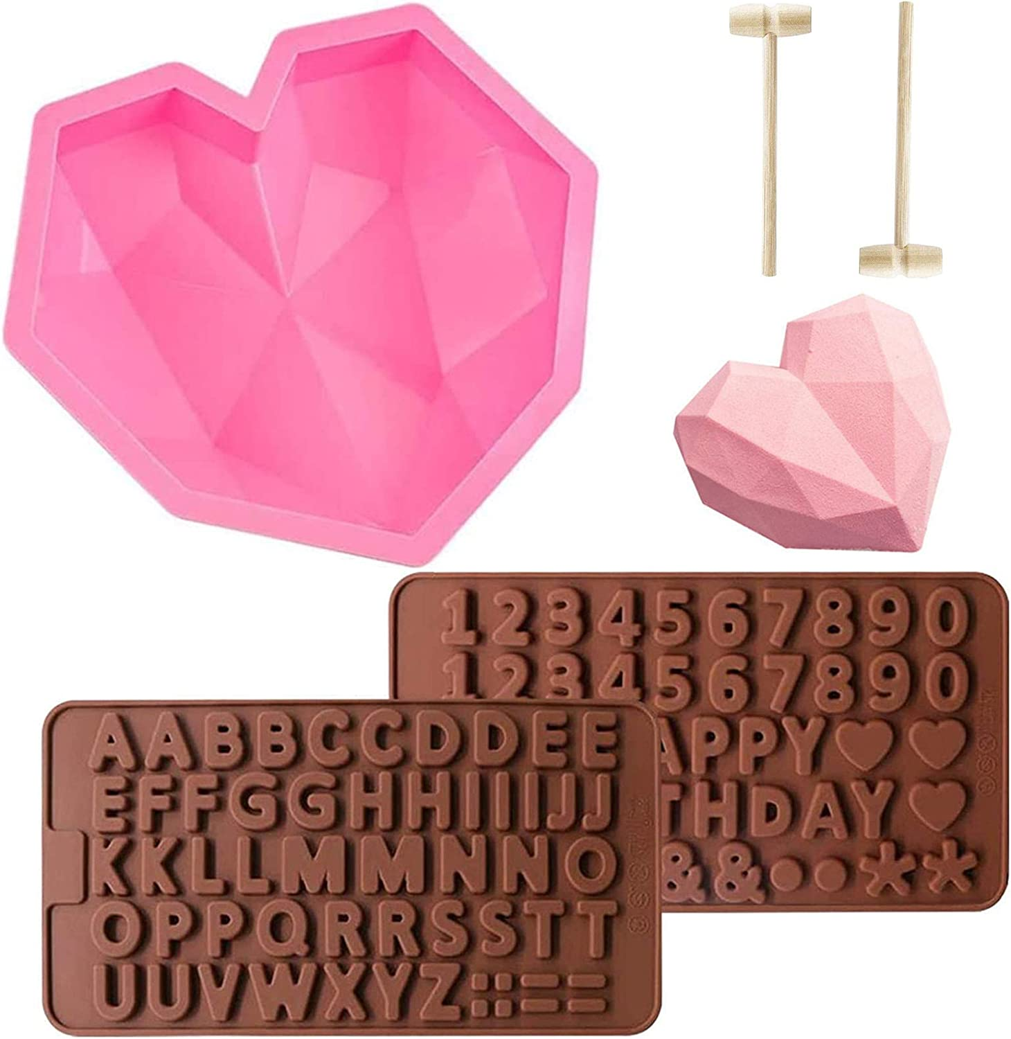 Diamond Heart Mousse Cake Mold Trays 8.7 Inch Silicone Baking Pan Oven Safe Not Sticky Mould, Wooden Hammers Mallet Pounding Tool and Chocolate Molds for Valentine Candy Chocolate Making (Pink)