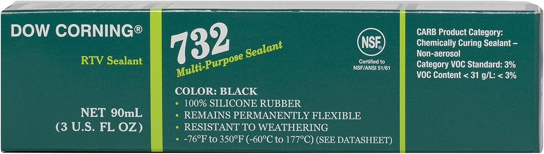 Dow Corning 2112531 732 Black Multi-Purpose Sealant, -60 to 177 Degree C, 90 mL