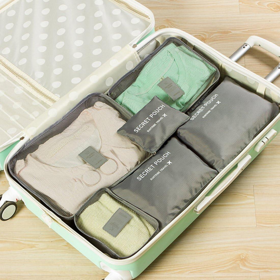 3 Sacchetti 3 Cubi di Imballaggio Foxom Organizer per valigie Bagagli Organizzatori Kit 6 Set Perfetto di Viaggio Dei Bagagli Organizzatore,blu
