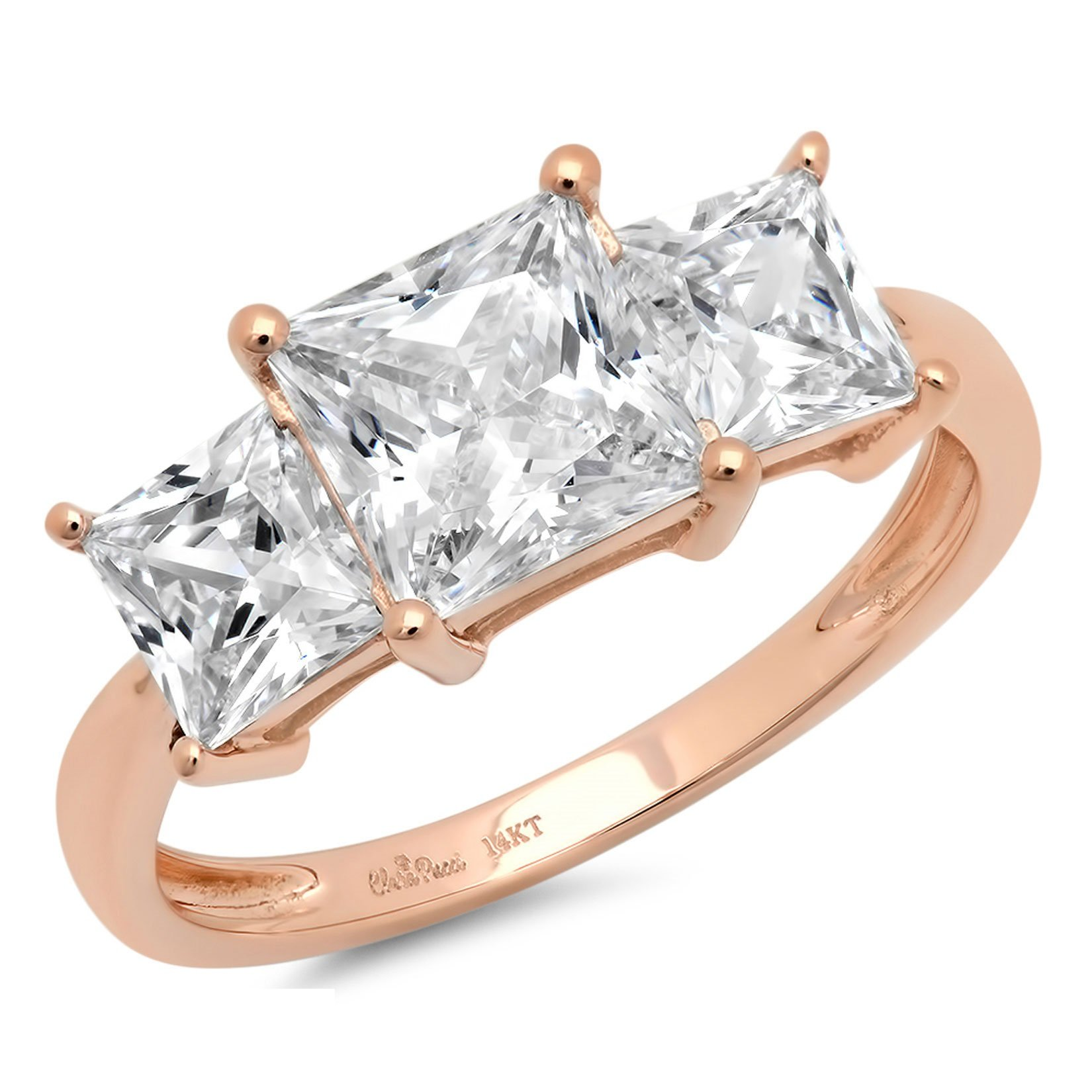 Clara Pucci 3.0 CT Three Stone Princess Cut Simulated Diamond CZ Solitaire Ring Engagement Wedding Band 14K Rose Gold, Size 10.75 by Clara Pucci