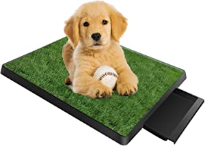 "TeqHome Dog Grass Pad with Tray, Fake Grass for Dogs Potty, 25""x 20"" Artificial Grass for Dog Pee Indoor/Outdoor, Puppy Potty Training Grass for Medium and Small Dogs Pets"