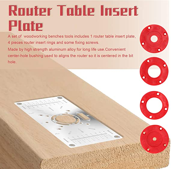 LKAIBIN Woodworking kit Aluminum Router Table Insert Plate for Woodworking Engraving Machine 235mmx118mm Durable