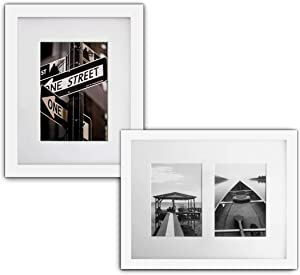 The Display Guys 2 Sets 11x14 inches White Picture Frame Made of Solid Pine Wood and Tempered Glass with White Core Mat Boards 2 for 8x10 Photos+ 2 for 2-5x7 Photos (White)
