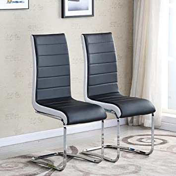 Schindora 2 X New Black And White Faux Leather Dining Chairs High