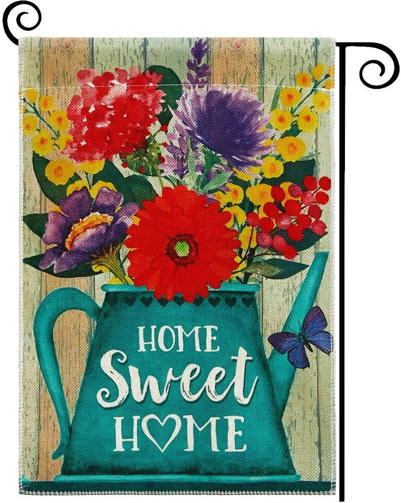 DOLOPL Summer Home Sweet Home Garden Flag 12.5x18 Inch Double Sided Decorative Blue Watering Pot Flowers Butterfly Seasonal Yard House Flag for Spring Summer Outdoor Indoor Decoration