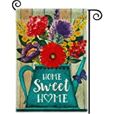 DOLOPL Summer Home Sweet Home Garden Flag 12.5x18 Inch Double Sided Decorative Blue Watering Pot Flowers Butterfly…