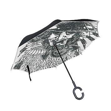 MALPLENA - Paraguas de Apertura automática Estilo Vintage, Estilo Samurai, Parte Trasera Invertida,