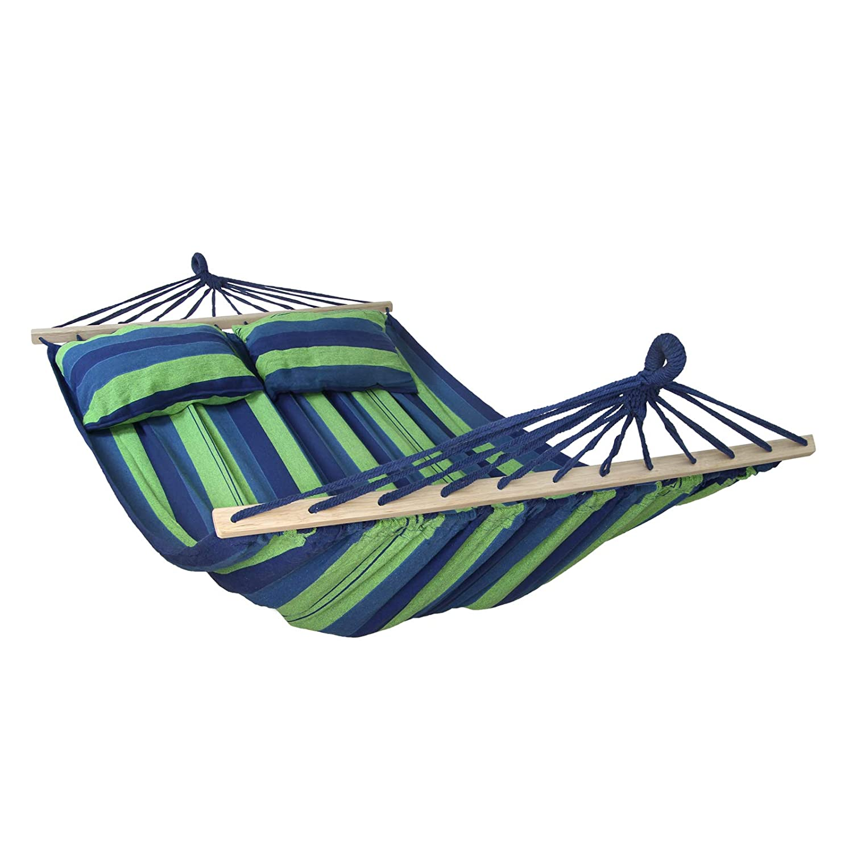Colore:Creta Amaca con Supporto CIBAO con 2 Cuscini Inclusi Dimensioni Telo 240x140 cm Disponibile in Molti Colori carico Massimo 300 kg per 2 Persone