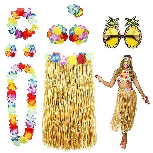 Hula Dancer Disfraz,Hula Juego de Falda de Hierba, Incluye Pulsera ...
