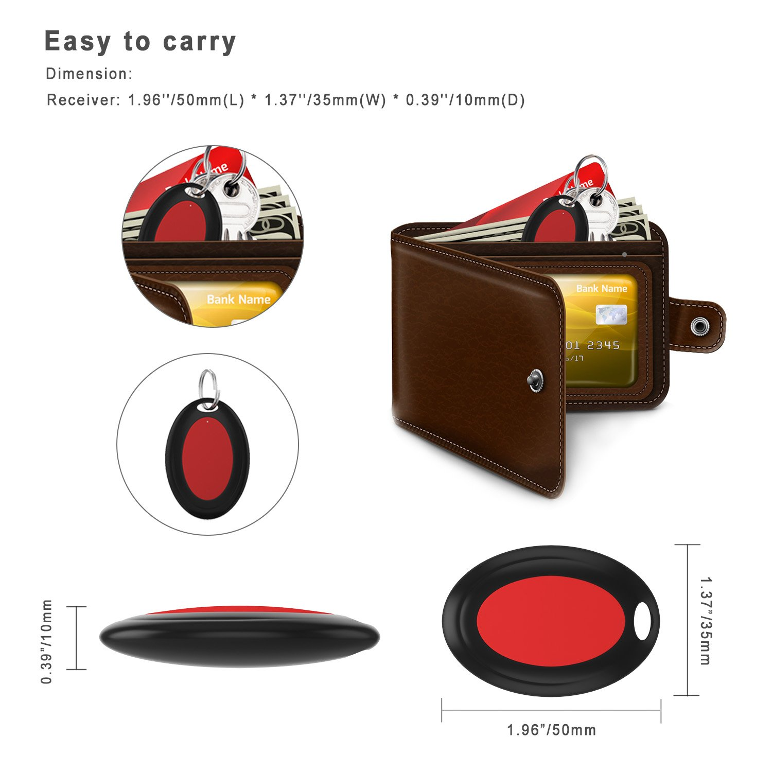 1 Remote Control Transmitter /& 4 Receivers Anything Finder Alarm Reminder Quickly Find Your Lost Items AOGUERBE Wireless Key Finder Phone Finder Smart Tracker Locator with LED Flashlight Anti Lost