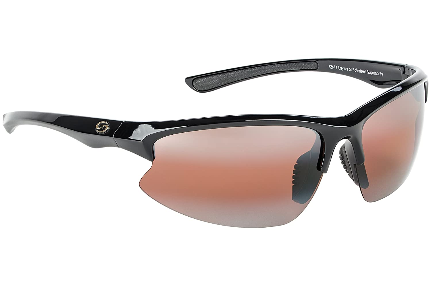 d2338d43a9 Strike King S11 Optics Semi Rimless Polarized Sunglasses (Shiny Black  Amber)  Amazon.ca  Sports   Outdoors