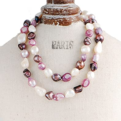 Jewelry & Watches Fashion Jewelry Women Multicolor Freshwater Pearl With Natural Amethyst Single Strand Necklace