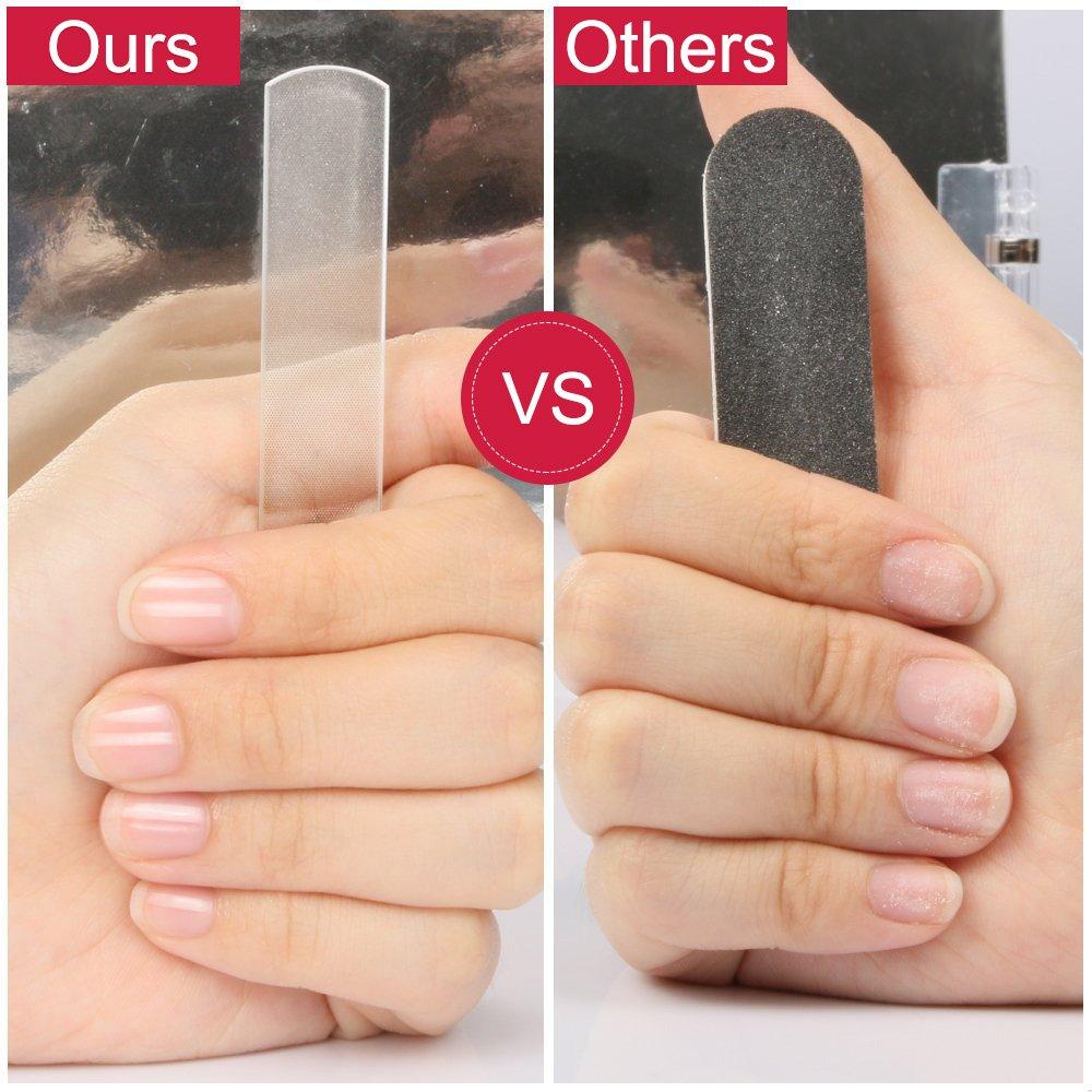 Professional Nano Cristal Limes à ongles, Aroc Manucure Pédicure Soin des ongles poli fichier ongles des ongles pour ongles naturels et acrylique avec étui de rangement (Poignée sans miroir) (1pc)