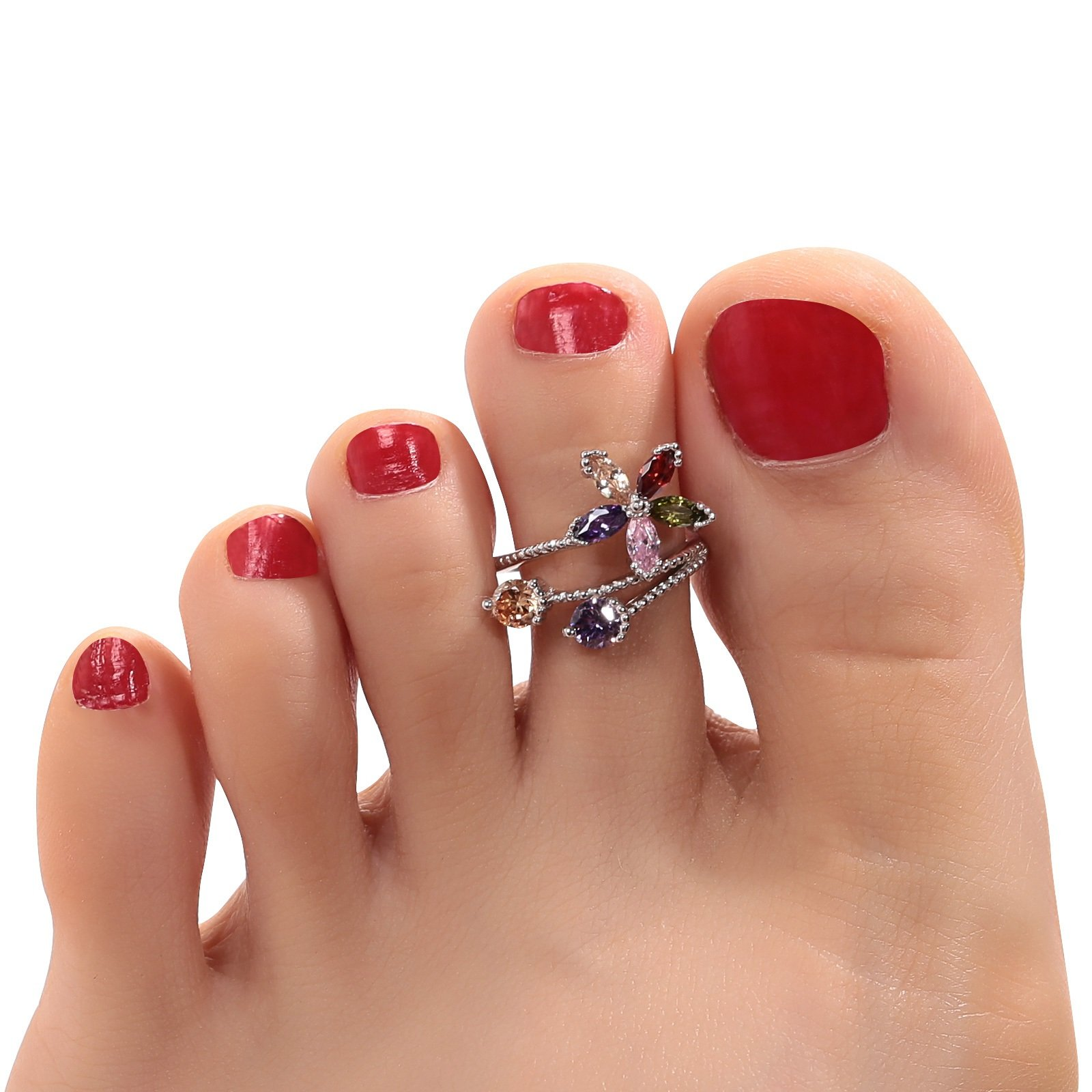 Aokarry 925 Sterling Silver Toe Rings For Women Girls Colorful Cubic Zirconia Open Flower Silver