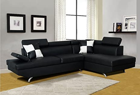 Beverly Furniture F2801B-2PC-BK 2 Piece Faux Leather Left Facing Sectional Sofa Set : left facing sectional sofa - Sectionals, Sofas & Couches
