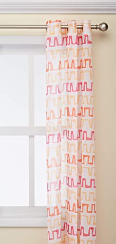 Deconovo Gradient Color Bar Graph Pattern Faux Grommet Girls Room Linen Curtain Sheer