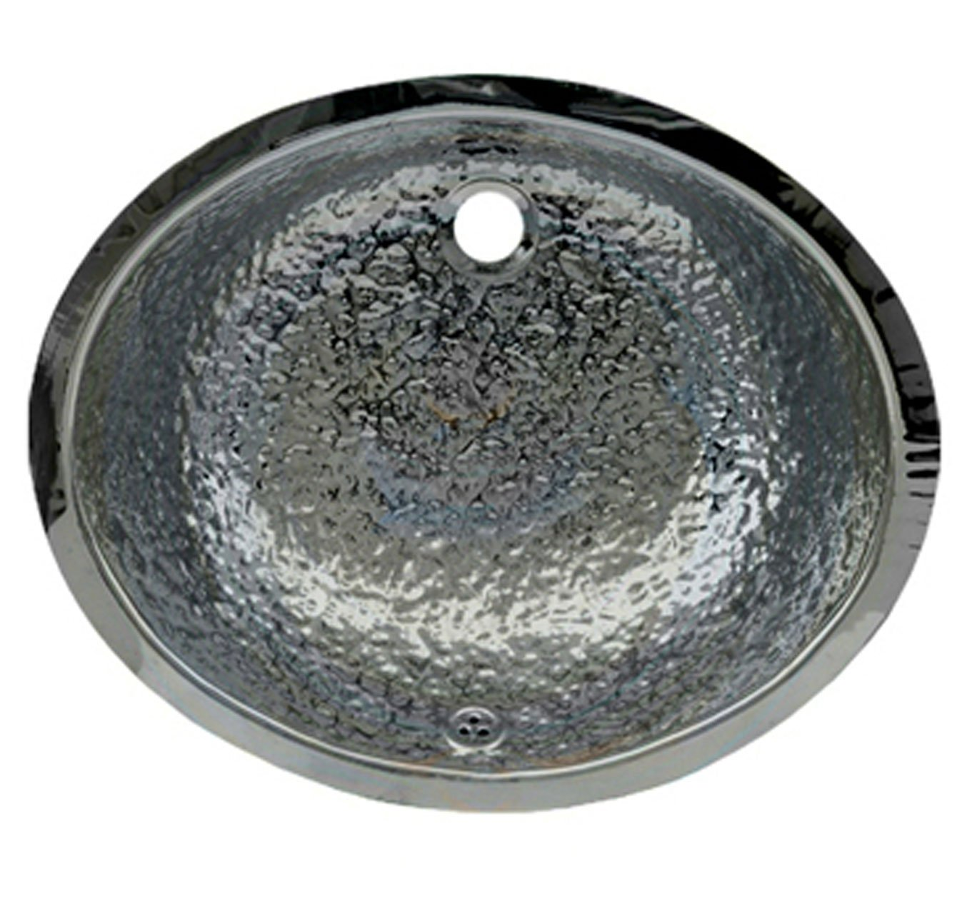 Whitehaus WH920ABB-POSS Oval 18 1 2-Inch Hammered Textured Undermount Basin with Overflow, Polished Stainless Steel