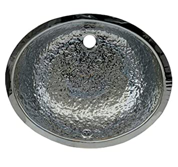 Whitehaus WH920ABB-POSS Oval 18 1/2-Inch Hammered Textured Undermount Basin  with