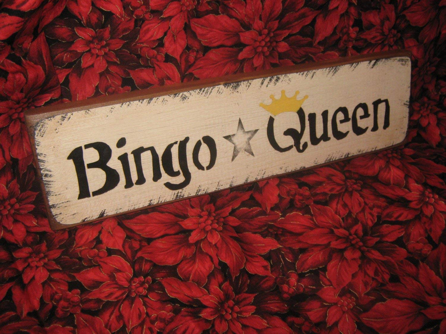 Olga212Patrick Primitive Wood Bingo Wood Plaque Sign Bingo Queen Theres No Place Like Home HandPrinted Country Folkart Housewares Wall Decor