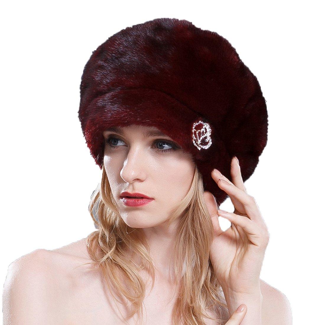 URSFUR Ladies Mink Fur Beret Hat (SAGA Burgundy)