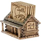 Cabin Log Coaster Set for Drinks - Modern Home Decor Accents Hunting Decor for Man Cave Coasters and Holder Set - Rustic Abso