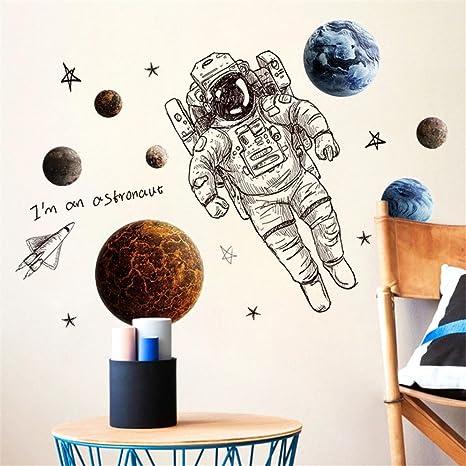 Erthome 1diy Astronaut Wandtattoo Familie Home Aufkleber Wandbild Kunst Decor Abnehmbare Amazon De Kuche Haushalt